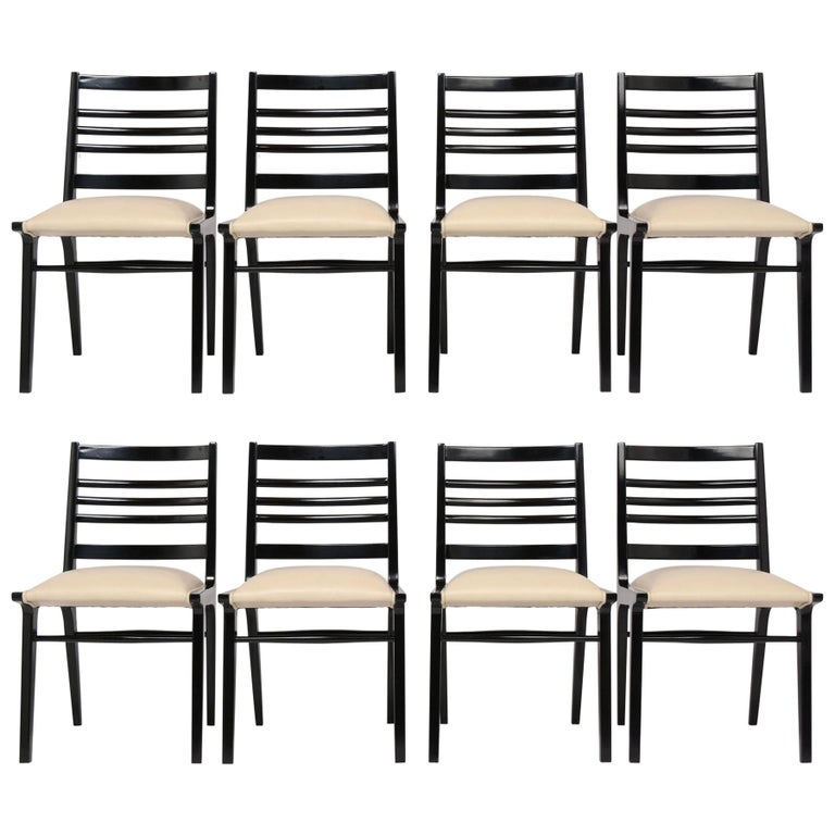 Set of Eight Mid-Century Dining Chairs For Sale