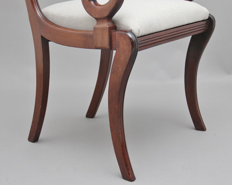 Set of Eight Regency Mahogany and Brass Inlaid Dining Chairs For Sale 7