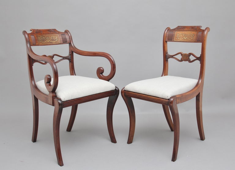 British Set of Eight Regency Mahogany and Brass Inlaid Dining Chairs For Sale