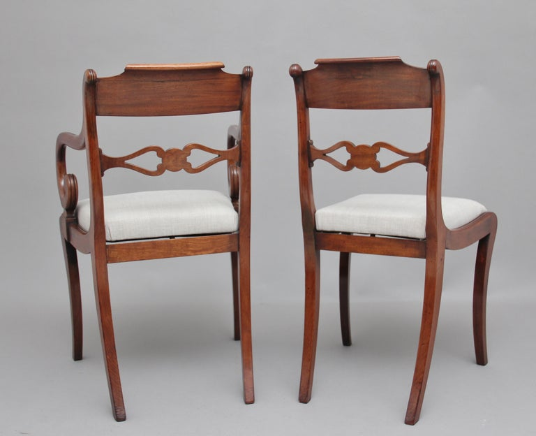 Set of Eight Regency Mahogany and Brass Inlaid Dining Chairs For Sale 1