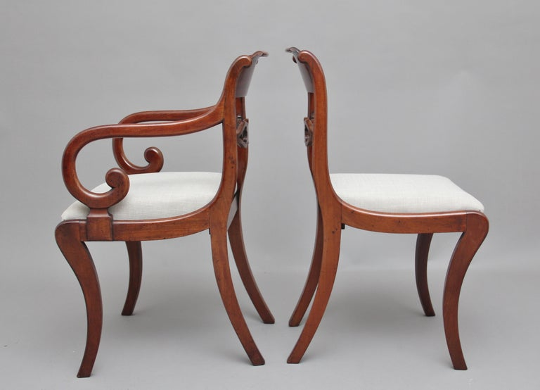 Set of Eight Regency Mahogany and Brass Inlaid Dining Chairs For Sale 2