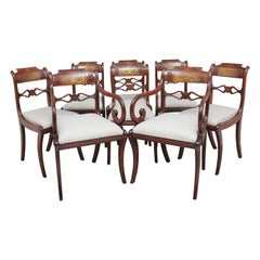 Set of Eight Regency Mahogany and Brass Inlaid Dining Chairs