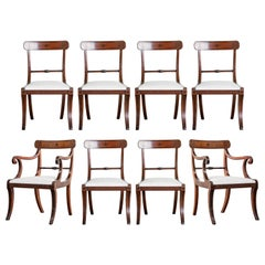 Set of Eight Regency Mahogany Dining Chairs, Including a Pair of Elbow Chairs
