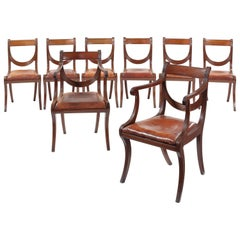 Set of Eight Regency Mahogany Klismos Dining Chairs Attributed to Gillows