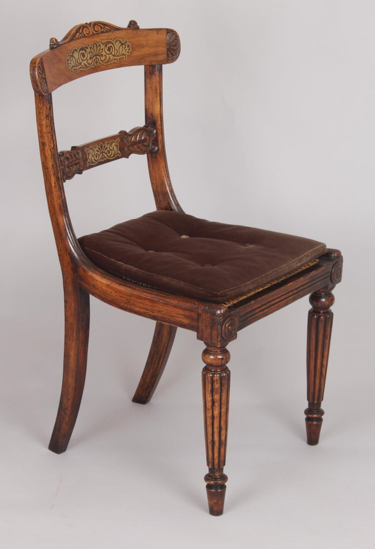 English Set of Eight Regency Period Simulated Rosewood and Brass Inlaid Chairs For Sale