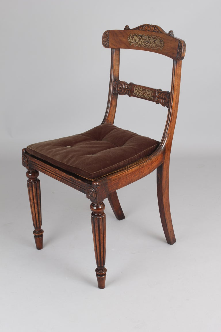 Set of Eight Regency Period Simulated Rosewood and Brass Inlaid Chairs In Good Condition For Sale In Cambridge, GB