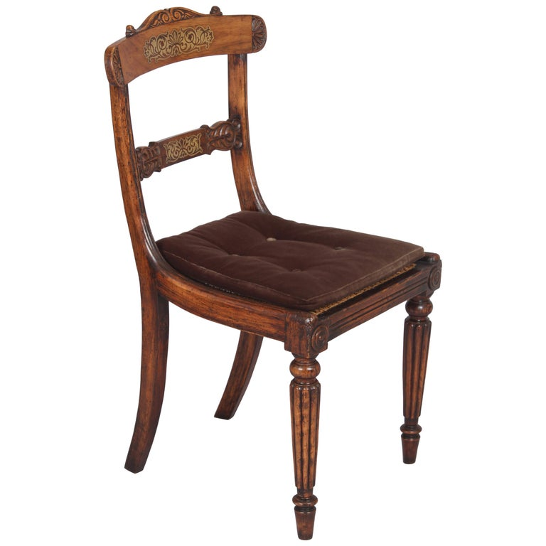 Set of Eight Regency Period Simulated Rosewood and Brass Inlaid Chairs For Sale
