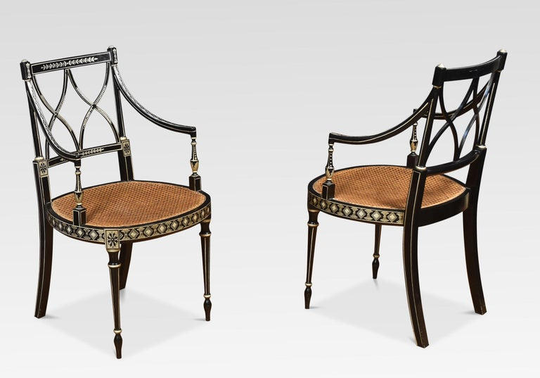 Ebony Set of Eight Regency Style Dining Chairs For Sale
