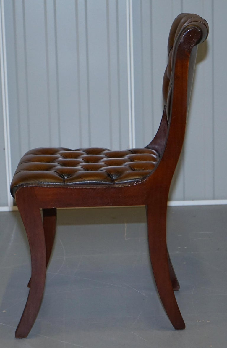 Set of Eight Restored Vintage Chesterfield Mahogany Brown Leather Dining Chairs For Sale 3