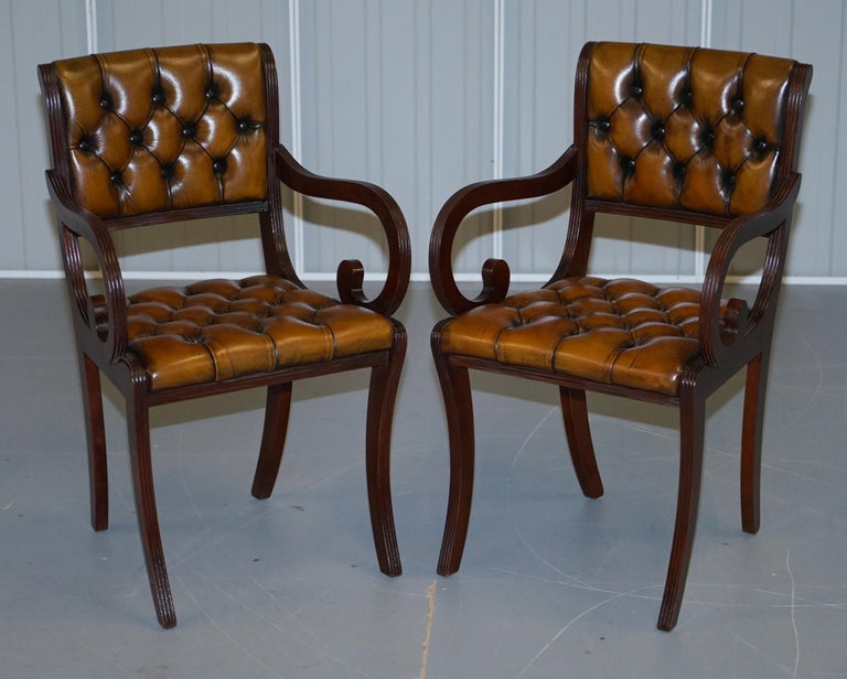 Set of Eight Restored Vintage Chesterfield Mahogany Brown Leather Dining Chairs For Sale 4