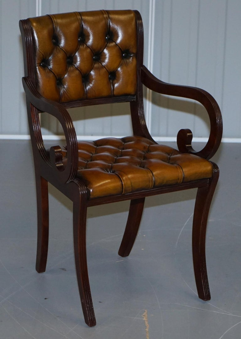 Set of Eight Restored Vintage Chesterfield Mahogany Brown Leather Dining Chairs For Sale 5