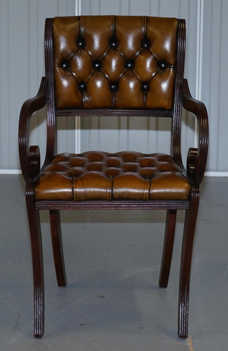 Set of Eight Restored Vintage Chesterfield Mahogany Brown Leather Dining Chairs For Sale 6