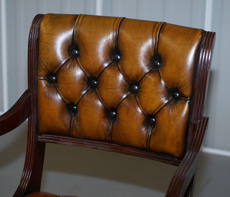 Set of Eight Restored Vintage Chesterfield Mahogany Brown Leather Dining Chairs For Sale 7
