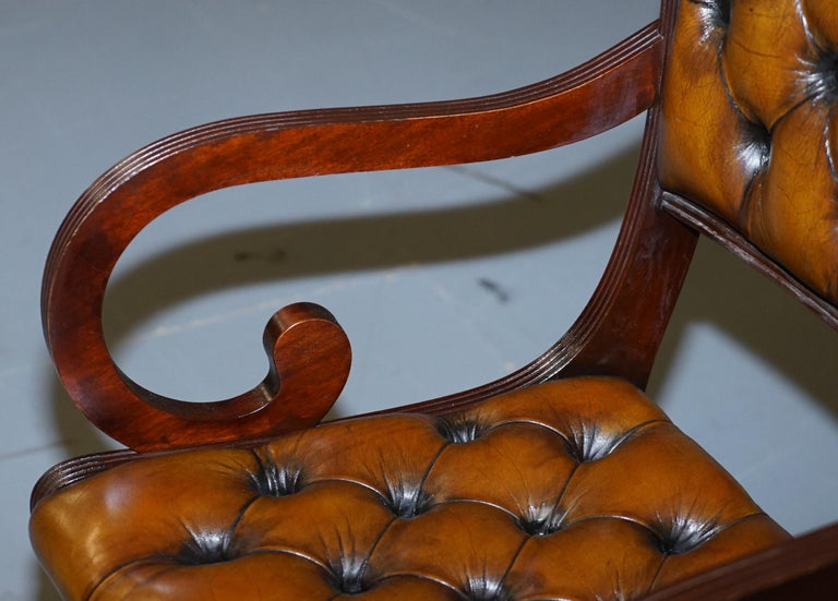Set of Eight Restored Vintage Chesterfield Mahogany Brown Leather Dining Chairs For Sale 9