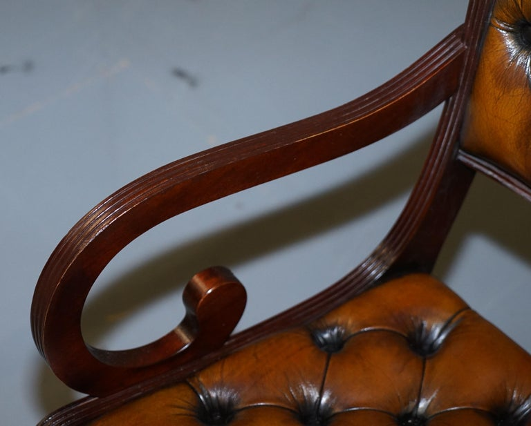 Set of Eight Restored Vintage Chesterfield Mahogany Brown Leather Dining Chairs For Sale 10