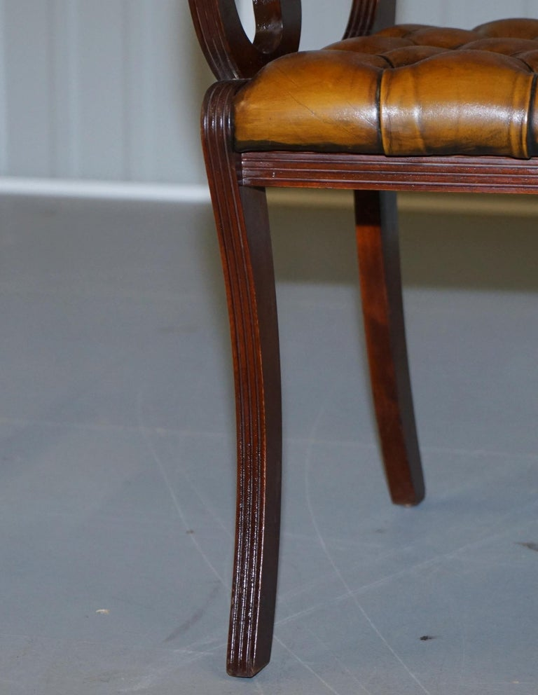 Set of Eight Restored Vintage Chesterfield Mahogany Brown Leather Dining Chairs For Sale 11