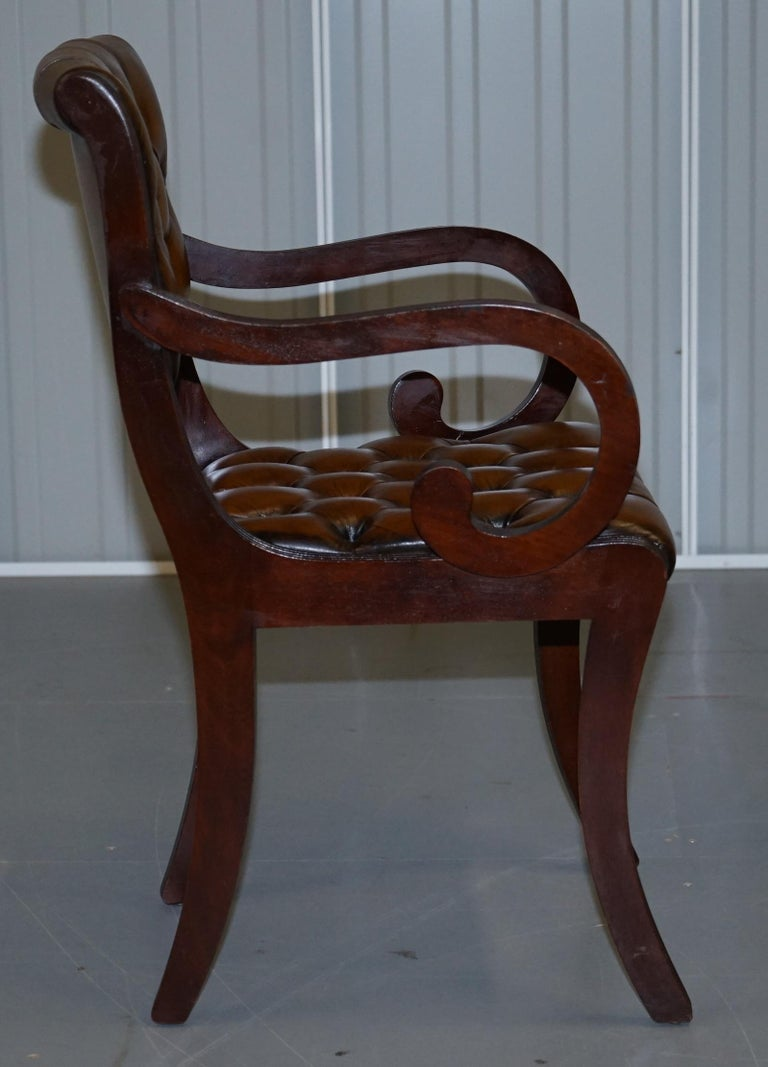 Set of Eight Restored Vintage Chesterfield Mahogany Brown Leather Dining Chairs For Sale 12