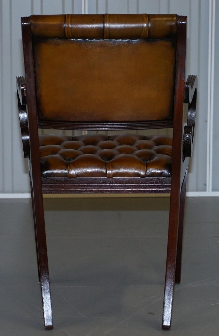Set of Eight Restored Vintage Chesterfield Mahogany Brown Leather Dining Chairs For Sale 13