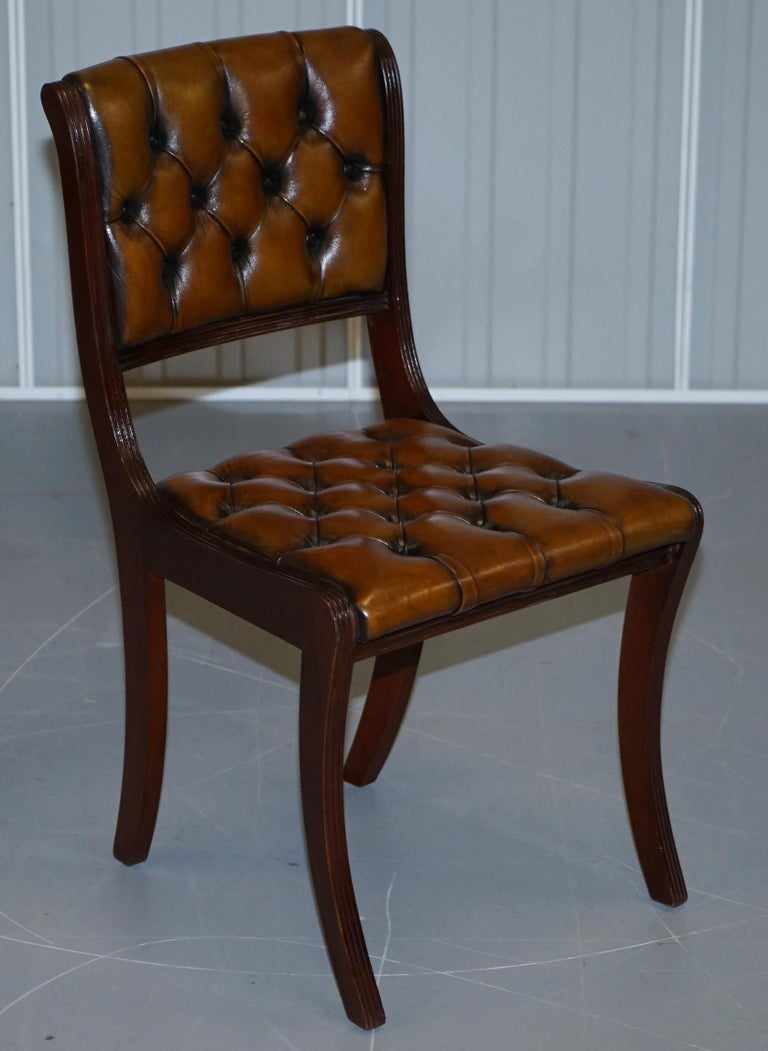 Regency Set of Eight Restored Vintage Chesterfield Mahogany Brown Leather Dining Chairs For Sale