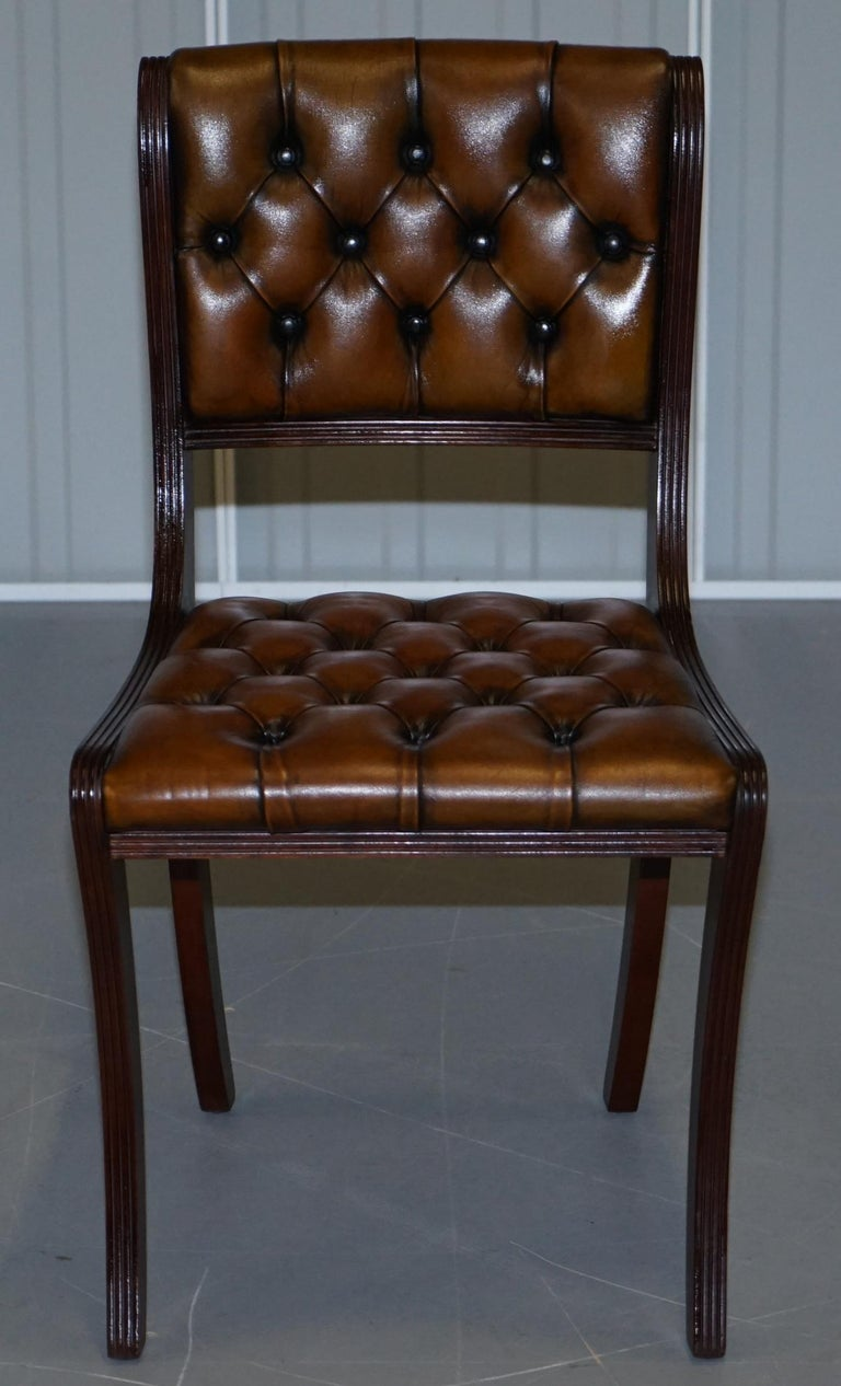 English Set of Eight Restored Vintage Chesterfield Mahogany Brown Leather Dining Chairs For Sale