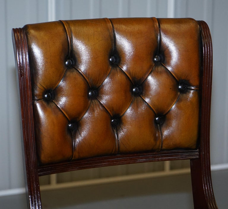 Hand-Carved Set of Eight Restored Vintage Chesterfield Mahogany Brown Leather Dining Chairs For Sale