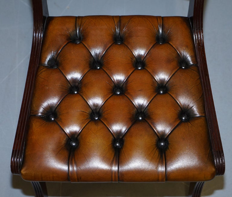 Set of Eight Restored Vintage Chesterfield Mahogany Brown Leather Dining Chairs In Good Condition For Sale In London, GB