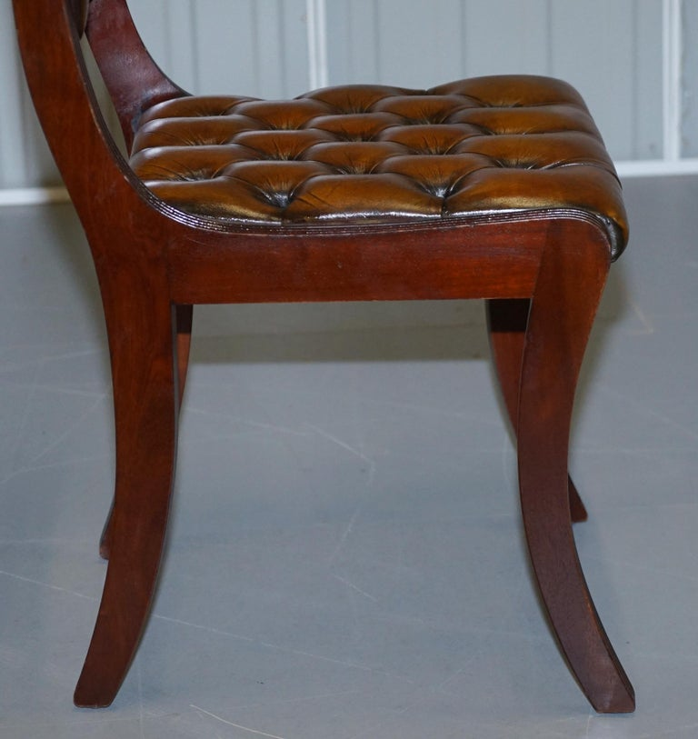 Set of Eight Restored Vintage Chesterfield Mahogany Brown Leather Dining Chairs For Sale 1
