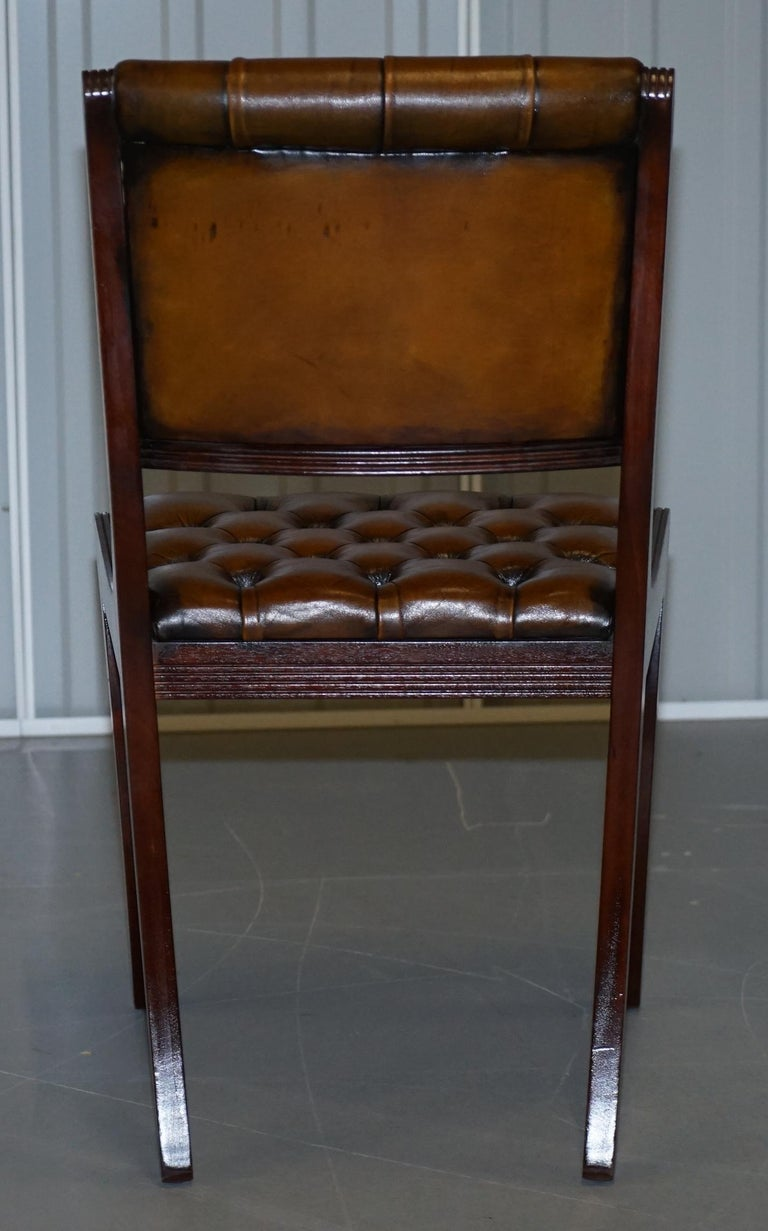 Set of Eight Restored Vintage Chesterfield Mahogany Brown Leather Dining Chairs For Sale 2