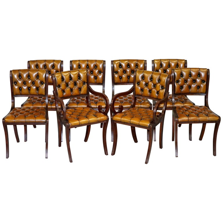 Set of Eight Restored Vintage Chesterfield Mahogany Brown Leather Dining Chairs For Sale