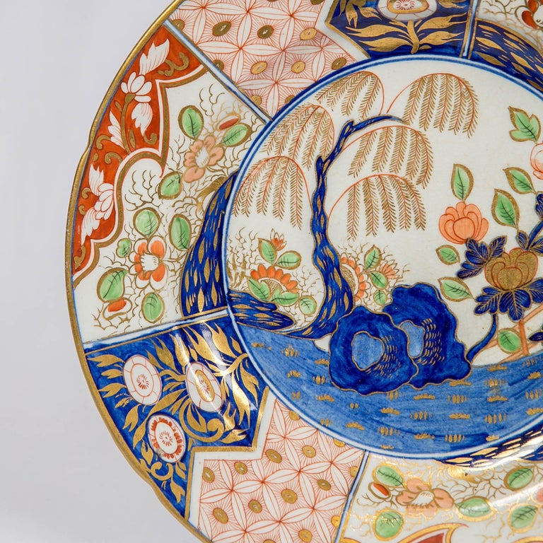 Hand-Painted Set of Eight Rock and Tree-Pattern Soup Plates Made in England, circa 1820 For Sale