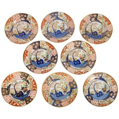 Set of Eight Rock and Tree-Pattern Soup Plates Made in England, circa 1820