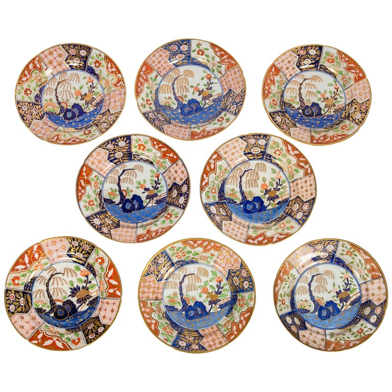 Set of Eight Rock and Tree-Pattern Soup Plates Made in England, circa 1820 For Sale