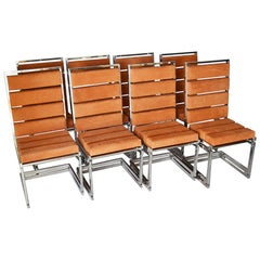 Set of Eight Romeo Rega Chairs in Steel and Pekari Leather, 1972, Italy