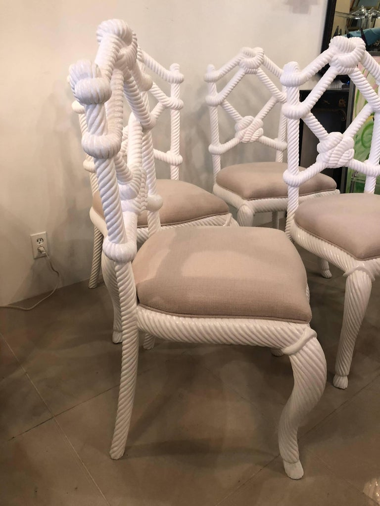 Kelly Wearstler Rope Wood Nautical Beach Side Dining Chairs White Lacquered In Excellent Condition For Sale In West Palm Beach, FL