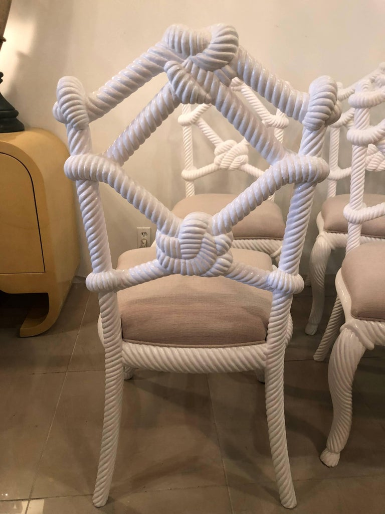 Upholstery Kelly Wearstler Rope Wood Nautical Beach Side Dining Chairs White Lacquered For Sale
