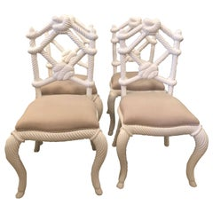 Set of Eight Rope Wood Nautical Beach Side Dining Chairs White Lacquered