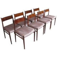 Set of Eight Rosewood Midcentury Danish Model 418 Dining Chairs by Arne Vodder