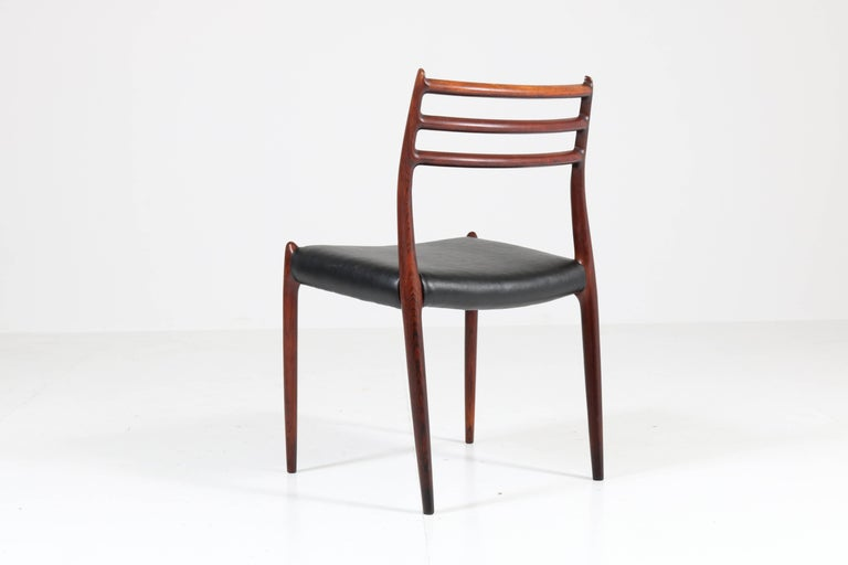 Set of Eight Rosewood Model 78 Chairs by Niels O. Møller for J.L. Møllers, 1954 For Sale 4