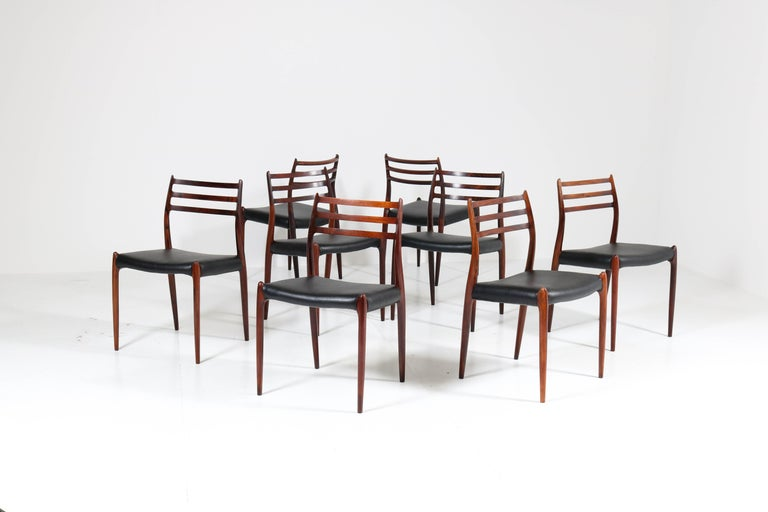 Set of Eight Rosewood Model 78 Chairs by Niels O. Møller for J.L. Møllers, 1954 For Sale 6