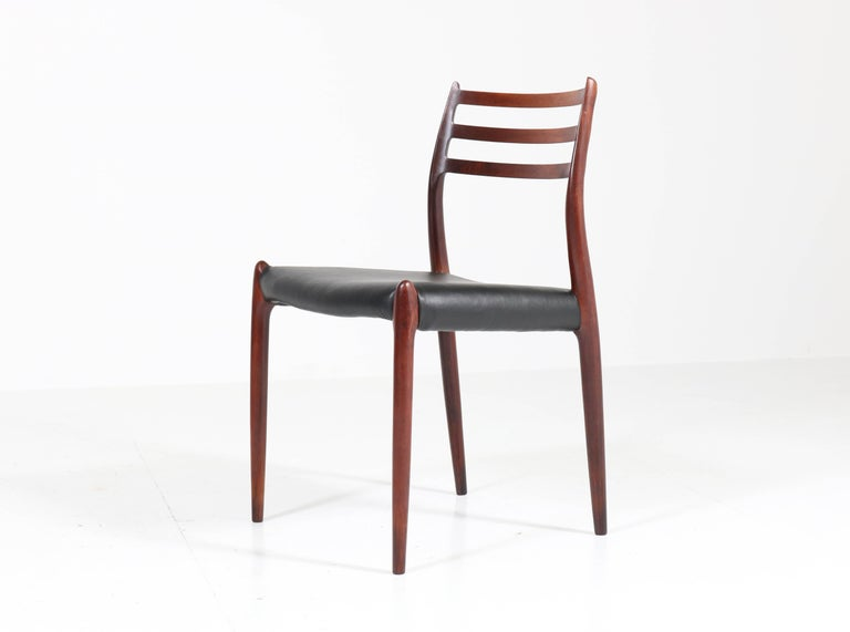 Mid-Century Modern Set of Eight Rosewood Model 78 Chairs by Niels O. Møller for J.L. Møllers, 1954 For Sale