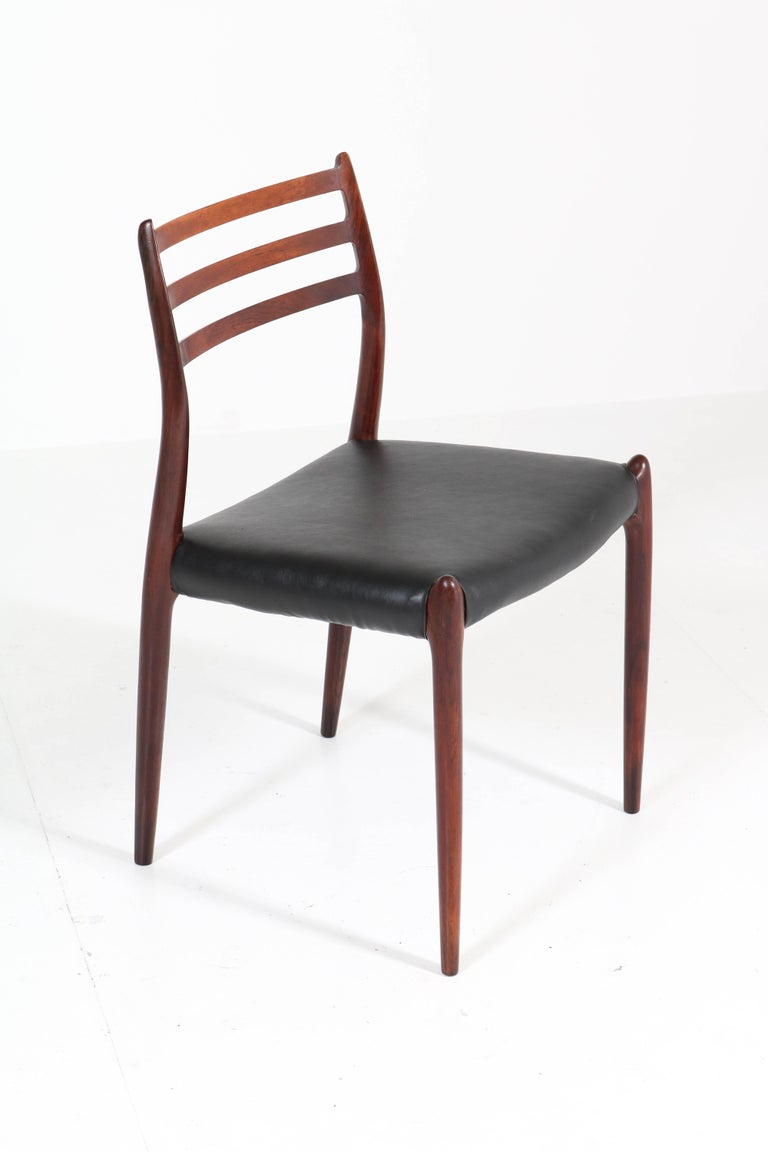 Set of Eight Rosewood Model 78 Chairs by Niels O. Møller for J.L. Møllers, 1954 In Good Condition For Sale In Amsterdam, NL