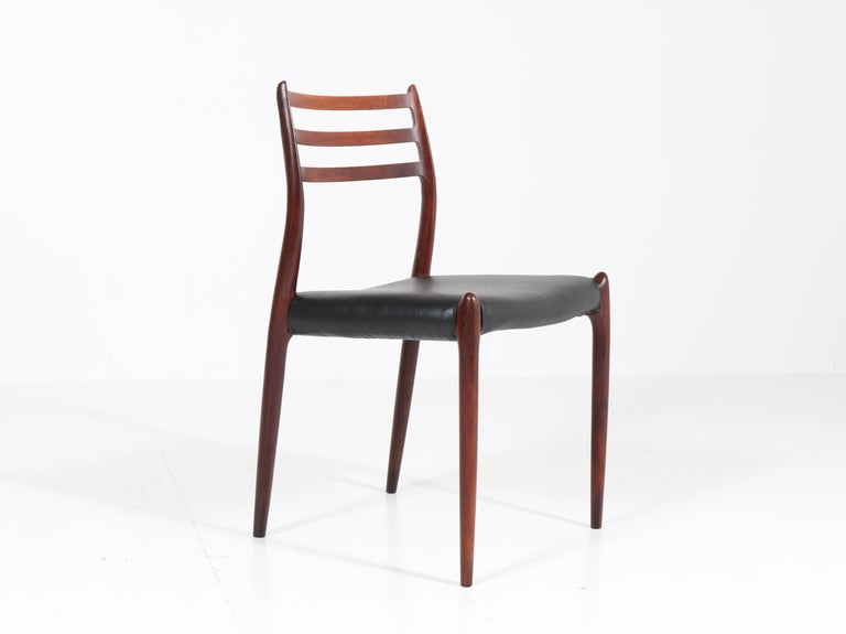 Mid-20th Century Set of Eight Rosewood Model 78 Chairs by Niels O. Møller for J.L. Møllers, 1954 For Sale