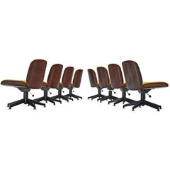 Set of Eight Rosewood Swivel Chairs by Ico Parisi for MIM Roma