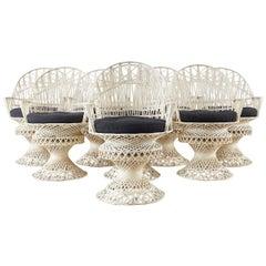 Set of Eight Russell Woodard Spun Fiberglass Armchairs