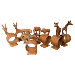 Set of Eight Safari Themed Hand Carved Napkin Rings
