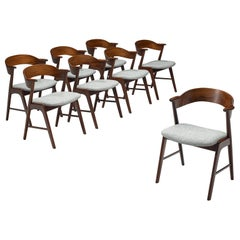Set of Eight Scandinavian Dining Chairs in Rosewood