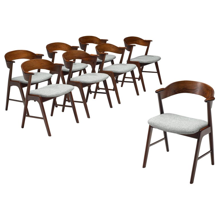 Set of Eight Scandinavian Dining Chairs in Rosewood For Sale
