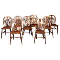 Set of Eight Semi-Antique Windsor Chairs