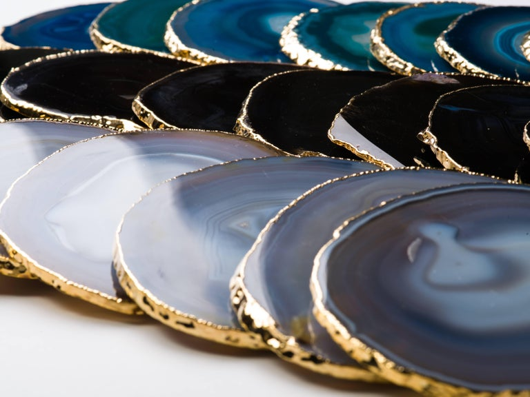 Set of Eight Semi-Precious Gemstone Coasters Black Onyx Wrapped in 24 Karat Gold For Sale 1