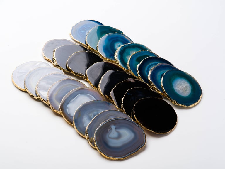 Set of Eight Semi-Precious Gemstone Coasters in Black Agate with 24 K Gold Trim For Sale 6